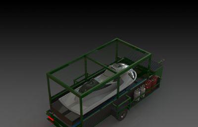 游艇拖車掛車圖紙模型,IGS格式