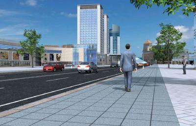 �F代城市街道�R路�鼍�maya模型,��汽�行�M�赢�,行人行走�赢�