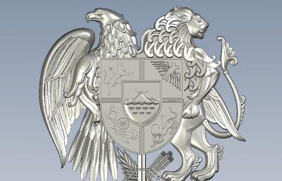 狮鹰盾牌标志STL格式模型