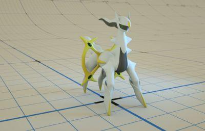 ��物小精�`―阿��宙斯C4D模型,Octane渲染,有骨骼�定