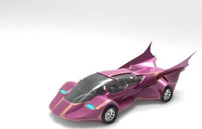 玫紅女性跑車超跑3DM格式模型素模