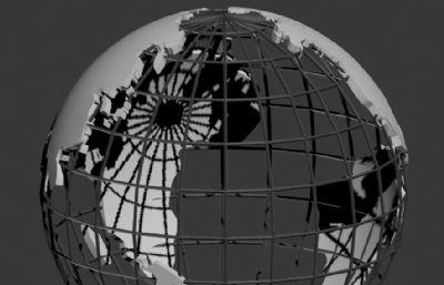 鏤空地球世界地圖版塊3D模型