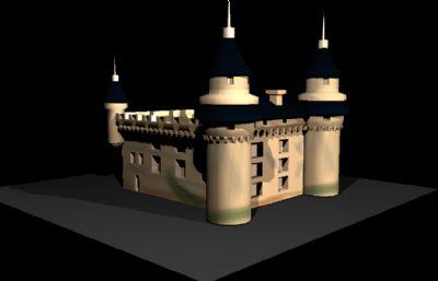 城堡建筑maya模型素模
