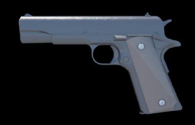 M1911半自�邮��maya模型,MB,FBX�煞N格式,非���w模型