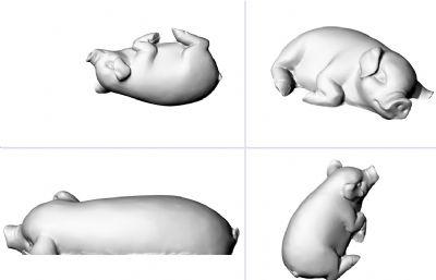 側躺睡覺的豬STL模型