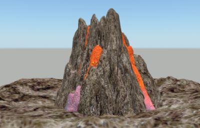 火山maya模型,已��obj,fbx格式