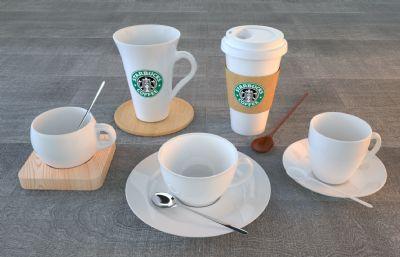 星巴克�料杯,瓷杯,咖啡杯等各�N常���用的杯子C4D模型,Octane渲染