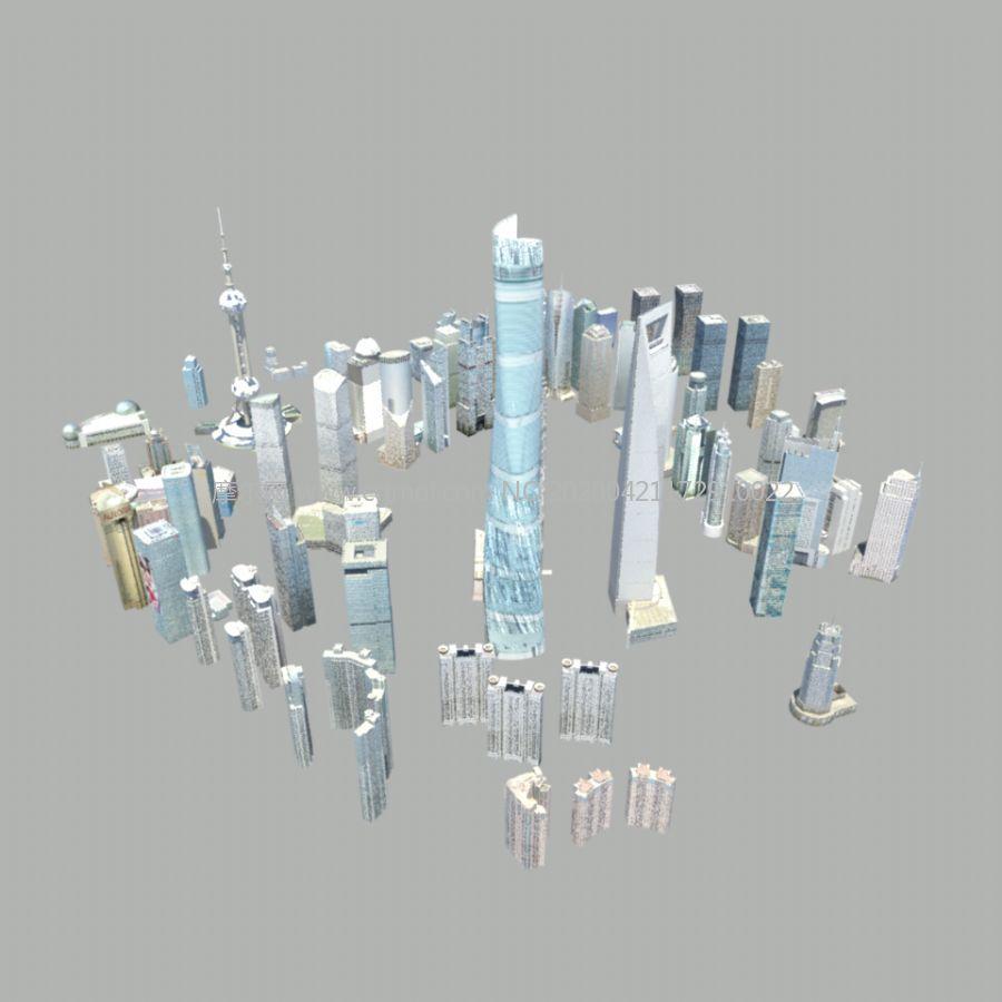 上海�家嘴�f��建筑群maya模型,包括上海�h球金融中心,�|方明珠塔等著名地��,MB,FBX,OBJ三�N格式