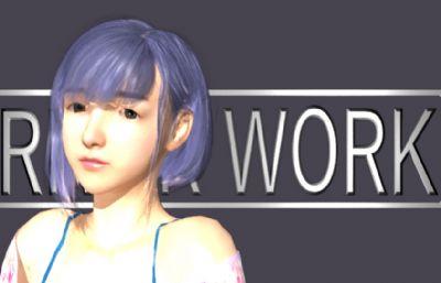日式和服出浴少女,�糁信�孩,清�乖乖女maya模型