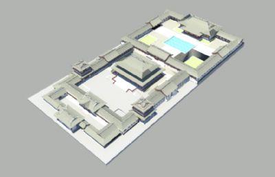 中式古建寺�R,�m殿maya模型