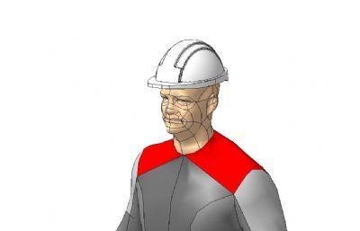 戴帽站立工人STP格式模型