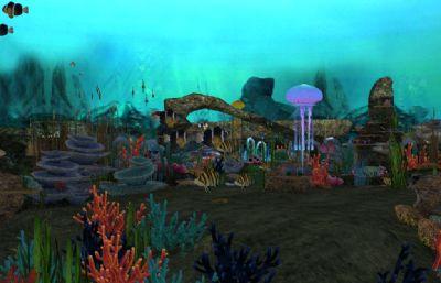 水母,海草,���,假山,珊瑚群,海底生物等海底世界生�B系�y3D模型