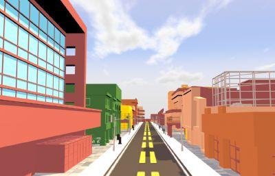 一��卡通街道C4D模型,�Р馁|