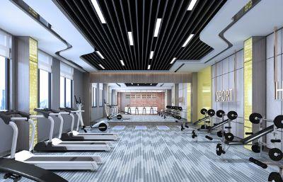 健身房,健身器材3D模型素模