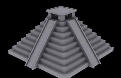 玛雅金字塔3D模型白模