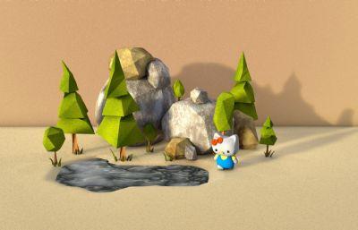 松��,水池,高山,Kitty�C4D低面�w小�鼍澳P�