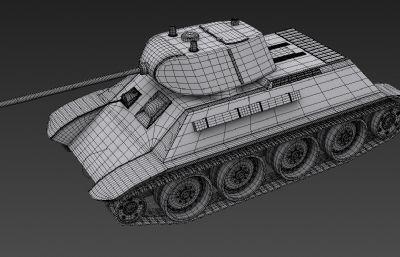 苏系A-20轻型坦克3D模型