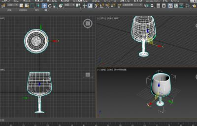 高�_杯�t酒杯3D模型�模