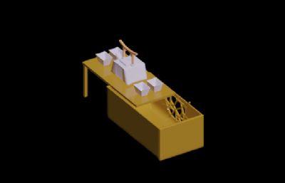 中式�L格茶具套�b3D模型素模