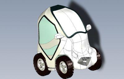 �巫�城市新能源小汽�RHINO�O�模型,附STP文件
