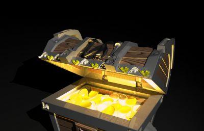 宝箱,金币宝箱游戏道具maya模型