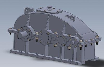 三級圓柱直齒輪減速箱Solidworks設計圖紙模型