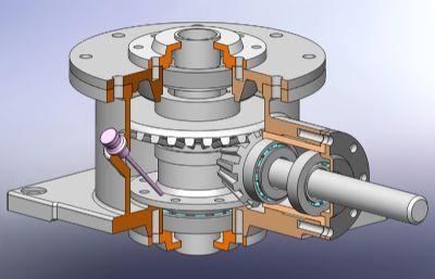 螺旋�X�箱剖切�Y��Solidworks�O�模型