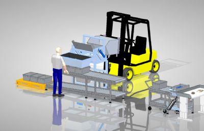 手動螺桿分揀系統設備STP格式模型