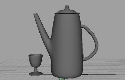 水壺+酒杯maya模型素模
