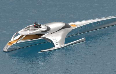 未來科幻設想的水上快艇IGS格式模型