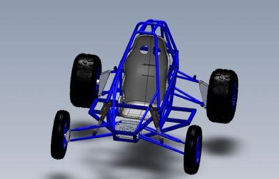 單座四驅越野車Solidworks設計模型