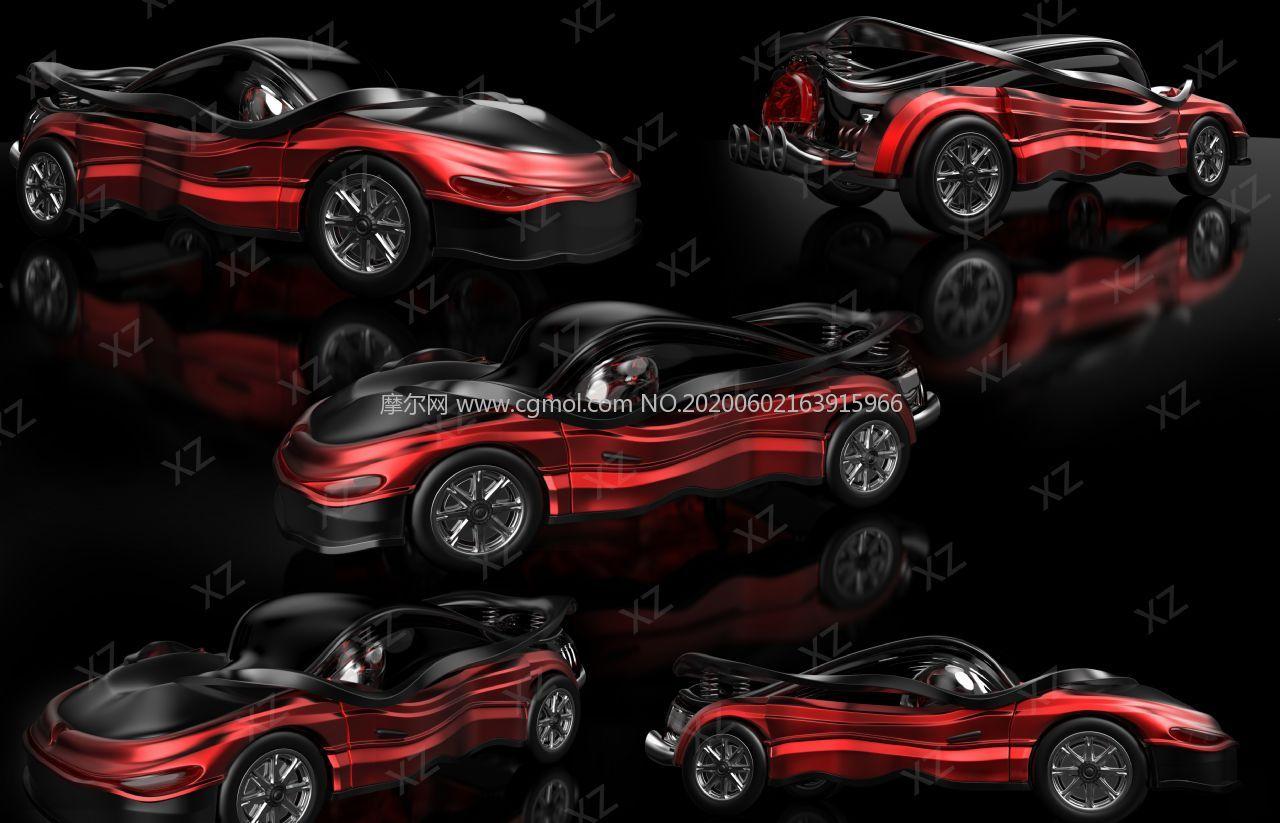 創意人字拖造型汽車maya模型素模,半成品