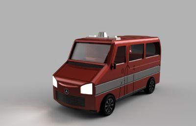 奔馳面包車,小貨車模型,STEP,IGS格式