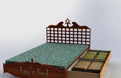 帶抽屜的大床模型,Solidworks設計