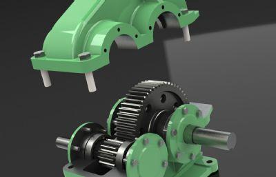 直齒輪一級減速器Solidworks設計圖紙模型