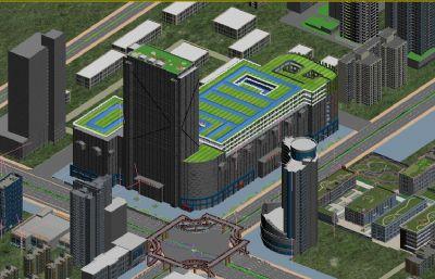 西安小寨商圈,城區購物廣場,城市商業中心周邊建筑場景3D模型(網盤下載)