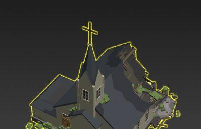 LOW PLOY破損的教堂廢墟3D模型,文件塌陷