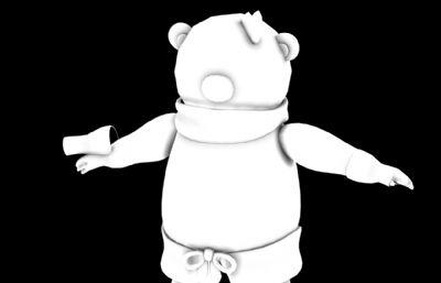 卡通圍巾熊3D模型