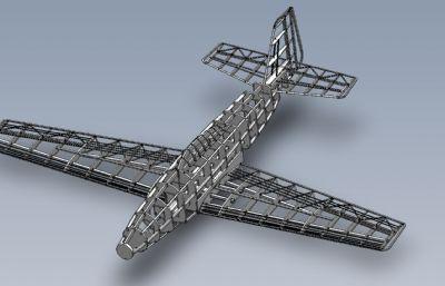 野馬戰斗機展示用框架Solidworks設計圖紙