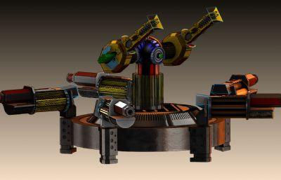 科幻炮臺武器Solidworks設計圖紙模型