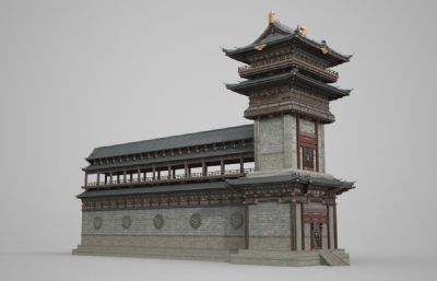 古時大型城墻塔樓,古建筑城樓3D模型(網盤下載)