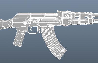 AK步槍OBJ模型白模