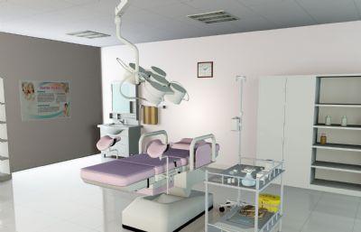 產房,婦科產房,婦科孕婦病床,手術床FBX模型文件,帶貼圖