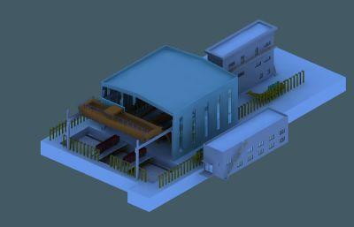 滾籠式翻車機系統場景3D模型素模
