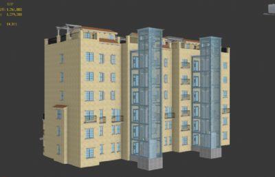 帶外置電梯的小洋樓,電梯有內部結構FBX模型
