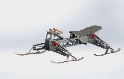 雪地車,雪橇車Solidworks設計圖紙模型