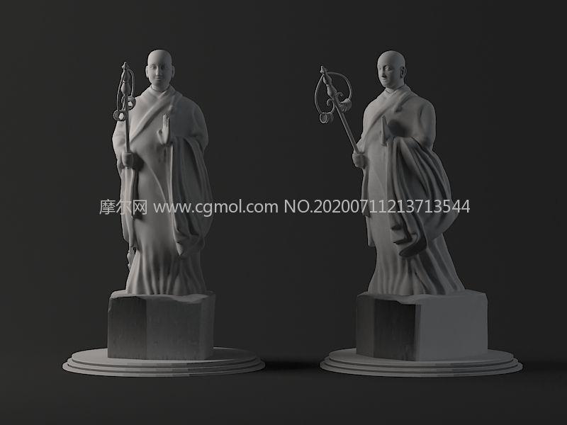 大雁塔玄奘和尚,唐僧雕塑3D模型素模