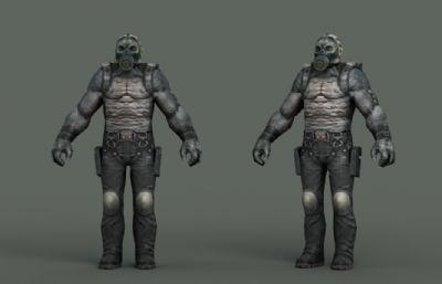 反派突變僵尸怪物,喪尸3D模型,模型為一個整體