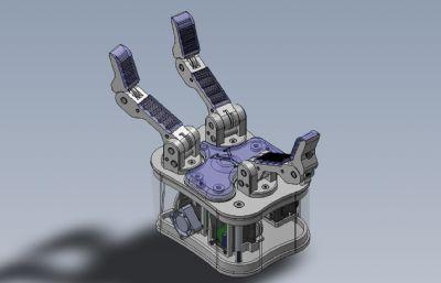 三指機械手,三爪機械手Solidworks設計圖紙模型
