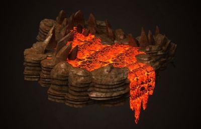 活火山,火山口,巖漿瀑布場景3D模型